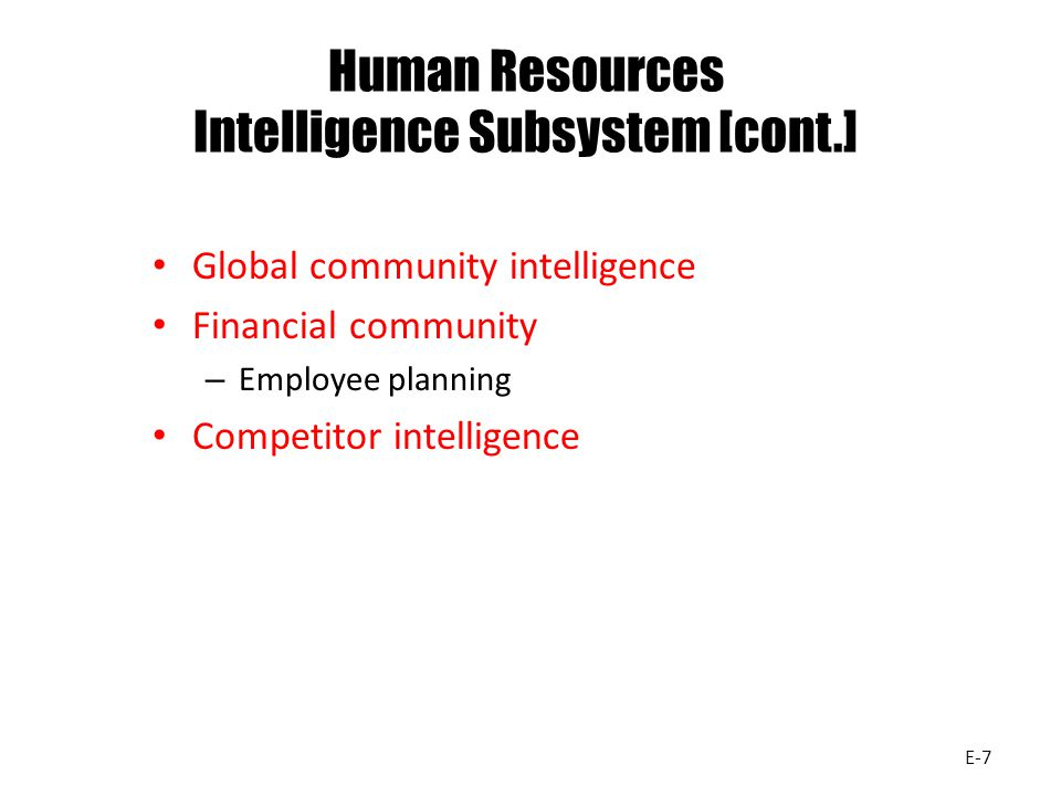 Human Resources Intelligence Subsystem [cont.]